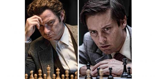 Left - Schreiber as Boris Spassky, Right - Maguire as Fischer