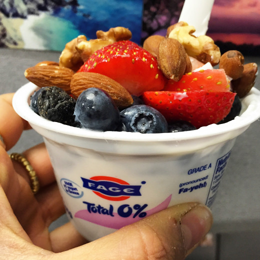 Fage Total with blueberries, strawberries, almonds