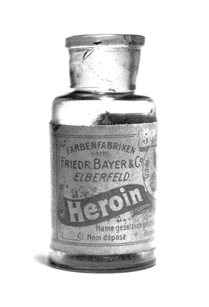 "Heroin bottle from 1898, note the name ""Bayer""."