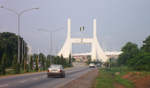 Abuja Gate. Abuja is the seat of federal power in Nigeria, the picture depicts the main gate leading to the federal capital territory.