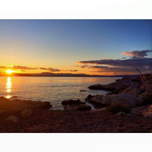 Beautiful sunset on the Island Krk, Croatia