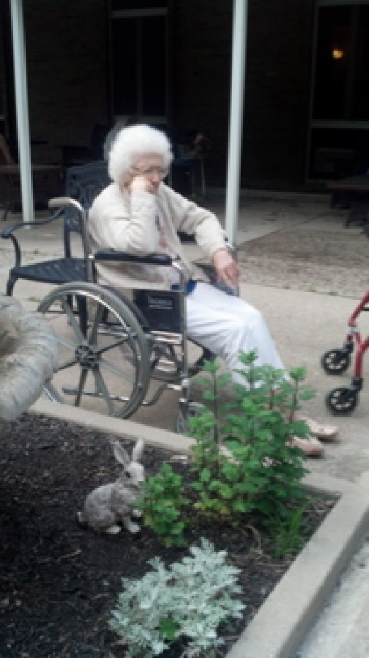 Mom in the Nursing Home Garden.  It really was a nice.