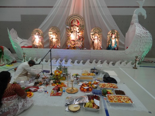 Preparing the offerings for the puja