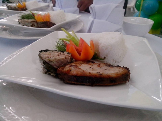 GRILLED SALMON & PILI NUT-FLAVORED SIDE DISH Photo Source: Ireno Alcala