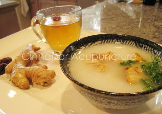 Postpartum tea and nourishing porridge.
