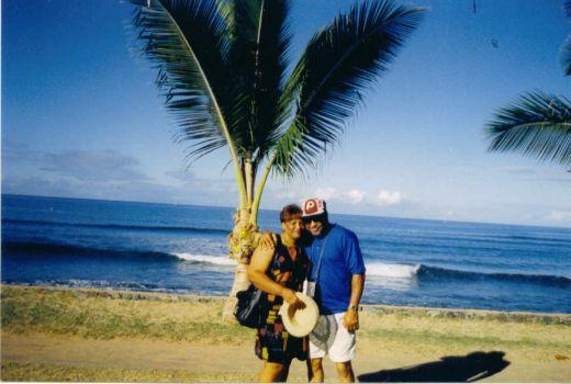 Allen and I in our backyard near Honolulu.