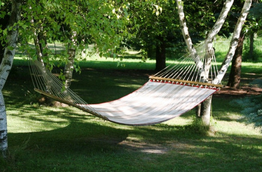 Hammocks are easily transported and set up.  You can have one with its own stand or tie it between trees. Hear the sounds of nature without a sound machine.