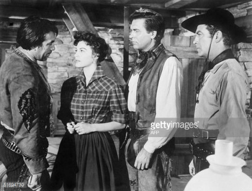 This 1953 file photo shows US actors Howard Keel (2R), Anthony Quinn (L), Ava Gardner (2L) and Robert Taylor (R) during a scene from the Hollywood film 'Ride, Vaquero'