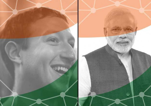 Mark Zukerberg and Mr. Narendra Modi in support of DIGITAL INDIA.
