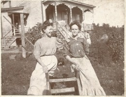 Laura is on the right.  Look closely and you can see Ligie lying on the ground between the two women.