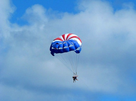 Parasailing in St. Maarten is a bit more fun on a sunny day.