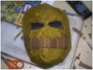 The mask before it is painted.