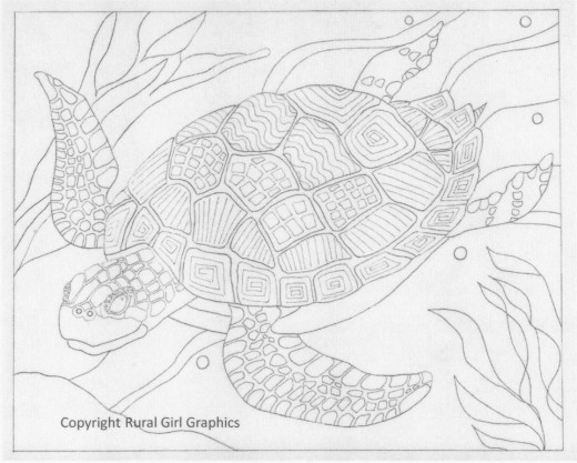 "This drawing has adequate complexity and realism to satisfy adults who color.  ""Sea Turtle"" pen and ink, copyright Rural Girl Graphics."