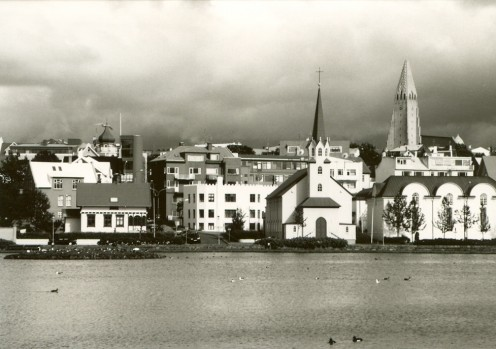 Reykjavik from 'the Pond'.  The Hallgrimskirkja on the right of the skyline.