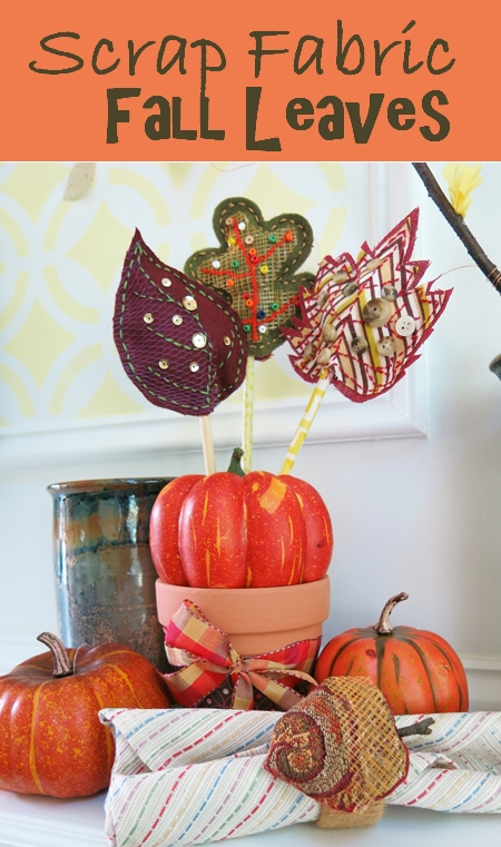 Scrap Fabric Fall Leaves and Napkin Rings