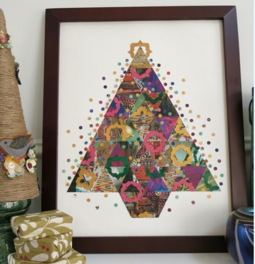 Paper Patchwork Christmas Tree Collage