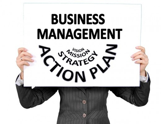 A sign labeled with the words Business Management Action Plan.