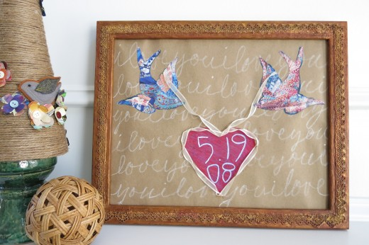 Romantic Birds and Heart Wall Art