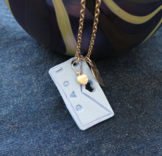 """""""Love Letter"""" Polymer Clay Pendant or Key Chain"""