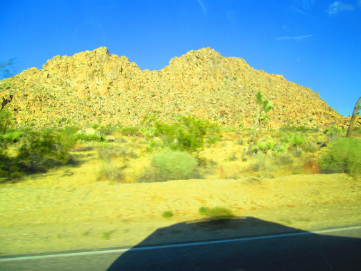 A boulder laden hill with blurry vegetation in the foreground. The downside of taking photographs from a moving vehicle.