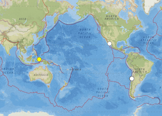 Worldwide earthquakes of 6.6 magnitude or larger for September 2015.