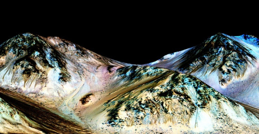These dark, narrow, 100-metre streaks called recurring slope lineae flowing downhill on Mars are inferred to have been formed by contemporary flowing water. Recently, planetary scientists detected hydrated salts on these slopes at Hale crater, corrob