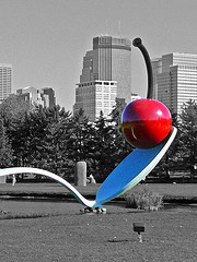 Bent Spoon with Cherry by Claes Oldenburg Minneapolis Sculpture Garden