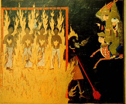 15th Century Persian painting depicting Mohmmed seeing women tormented in Hell
