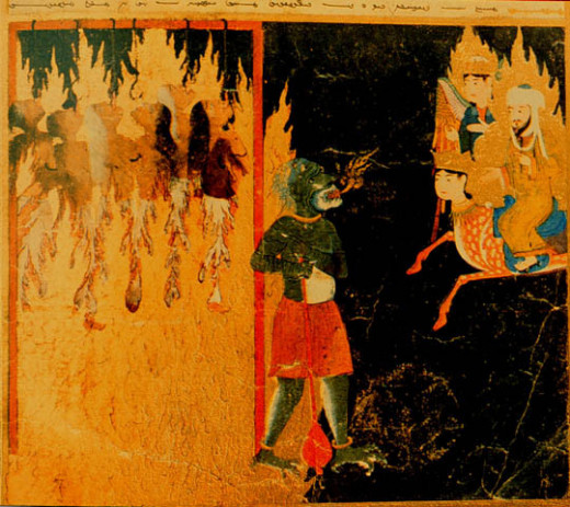 15th Century Persian painting depicting women being tortured in Hell for the sin of leaving heir homes without the permission of their husbands. They are hanging by their tongues.