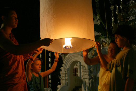 Celebrating the Loy Krathong Festival in Chiang Mai, Thailand.