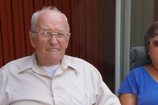 My grandfather at 89 in this photo, and he's still kicking, now, at 93