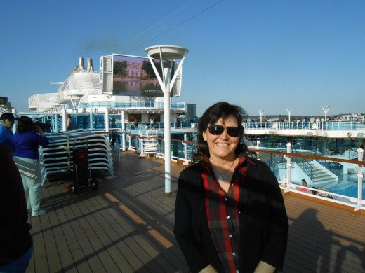 The author of this post on the Royal Princess cruise ship getting ready  to set sail on a two week transatlantic cruise!