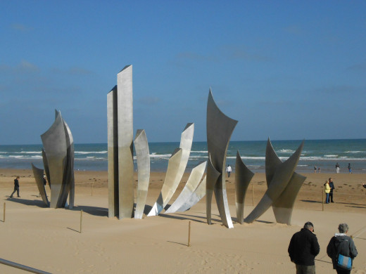 Monument at Omaha Beach in Normandy, France.