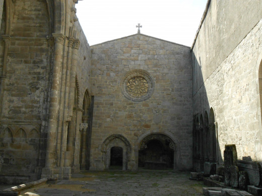 Ruins of a church from the 16th century in the medieval town of Ponte Verdre in Vigo, Spain.