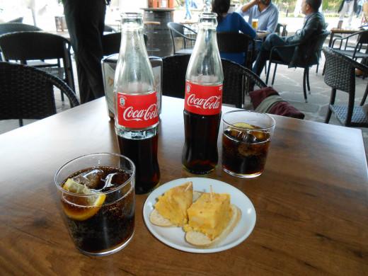 Our Cokes and tapas in Vigo, Spain.