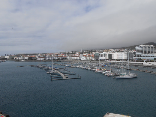 The cruise port of Ponta Delgada (seen from the ship) on the island of San Miguel in the Azores.