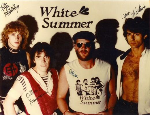 THE WHITE SUMMER BAND IN 1985: (L-R) JEFF ALDRICH, OLIVER HARMAN, JIMMY SCHRADER, JAMES WATKINS