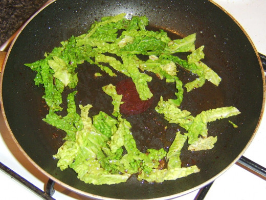 Savoy cabbage is flash fried