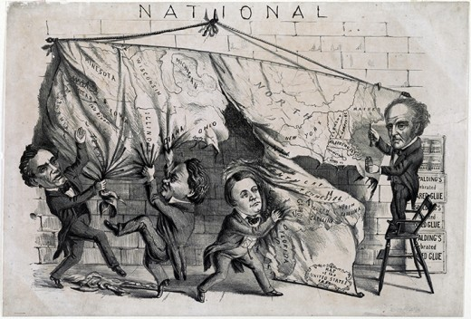 Politicians splitting the the map of the Union