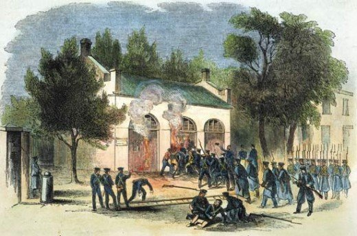Federal army led by Colonel Robert E. Lee moments before capturing John Brown at Harper Ferry