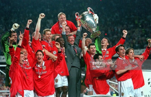 Lifting the Champions League Trophy with the team 1999
