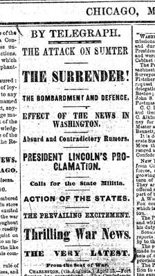 Article in Chicago Tribune announcing Fort Sumter Surrendered