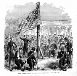 The U.S. flag lowering ceremony at Fort Sumter