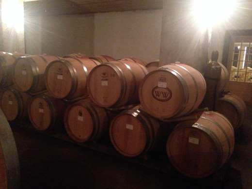 Inside these barrels is red wine.