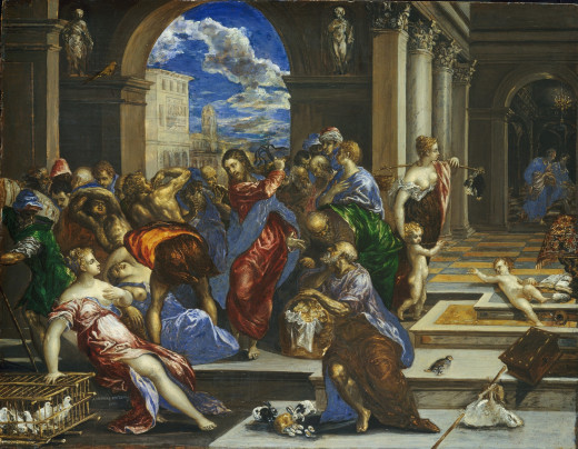 Jesus gets confrontational, depicted by El Greco.