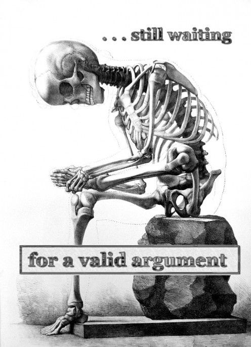 Illustration of skeleton waiting for valid trophy hunting argument, derived by R. G. Kernodle from antique anatomy drawing, inspired by similar image/text combinations.