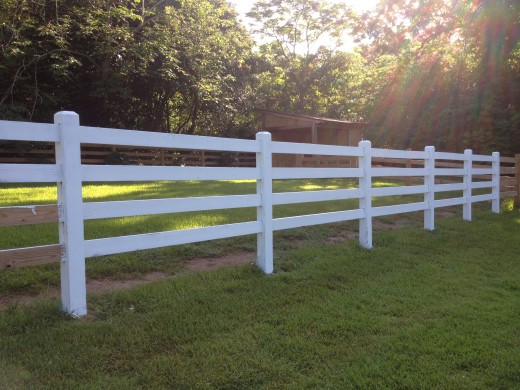 Four Rail Wood Fence Under Construction, No Nails Used