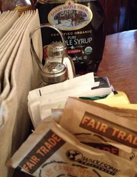 Fair Trade sugar packets and organic maple syrup in one of our favorite local restaurants