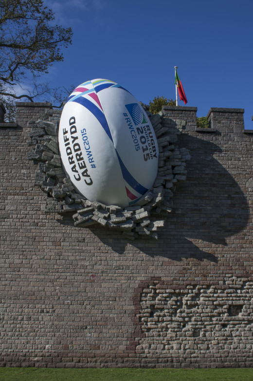 Rugby World Cup 2015 Ball Bursting Through Walls Of Cardiff Castle