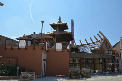 Nepal Pavillion, still under construction when we visited the EXPO.